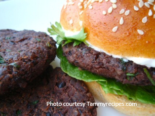 Black bean burger with sofrito ketchup and creamy lime spread from Old Havana Foods